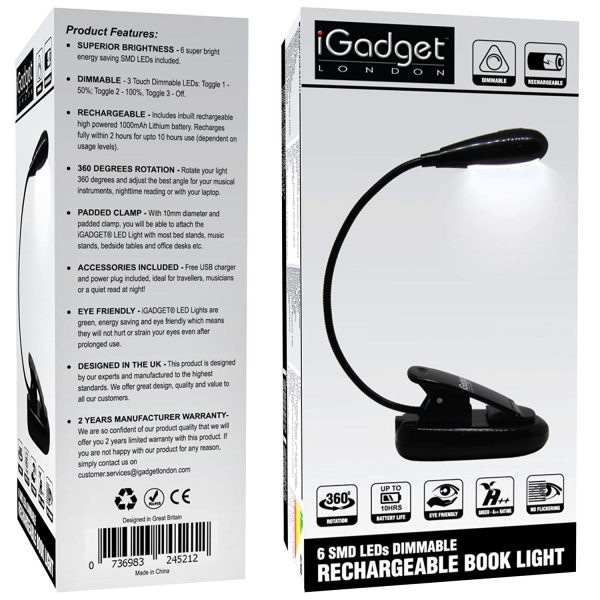iGADGET 6 SMD LEDs Dimmable Rechargeable Booklight