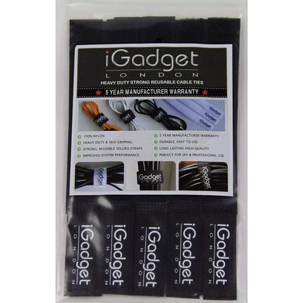 iGADGET® Top Rated #1 Heavy Duty Reuseable Hook & Loop Fastener Strap (Black)