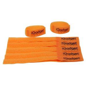 iGADGET® Top Rated #1 Heavy Duty Reusable Hook & Loop Fastener Strap (Neon Orange)
