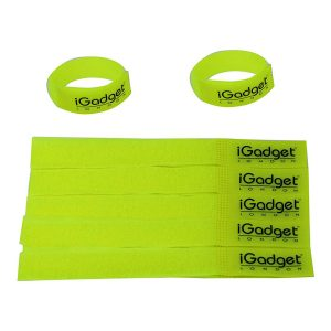 iGADGET® Top Rated #1 Heavy Duty Reusable Hook & Loop Fastener Strap (Neon Yellow)